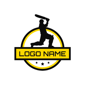 Yellow Banner and Cricket Athlete logo design