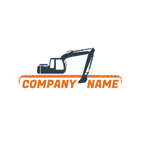 Yellow Banner and Excavator logo design