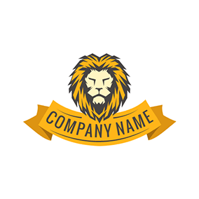 Yellow Banner and Lion Head logo design