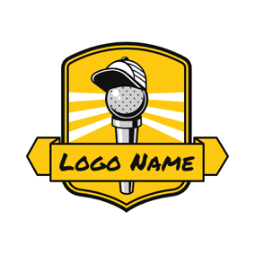 Yellow Banner and Microphone logo design
