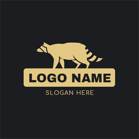Yellow Banner and Raccoon logo design