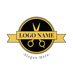Yellow Banner and Scissor logo design