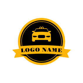 Yellow Banner and Taxi logo design