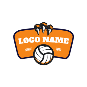 Yellow Banner and Volleyball logo design