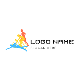 Yellow Bicycle and Colorful Triathlete logo design