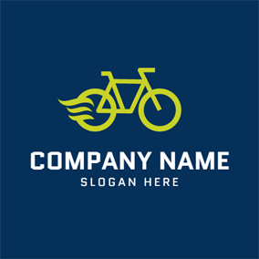 Yellow Bicycle and Cycling logo design