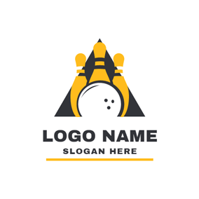 Yellow Bowling Pin and White Ball logo design