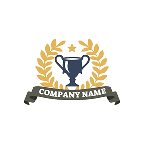 Yellow Branch and Blue Trophy logo design