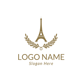 Yellow Branch and Eiffel Tower logo design