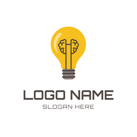 Yellow Bulb and Brain logo design