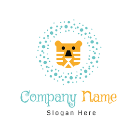 Yellow Cartoon Tiger logo design