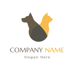 Yellow Cat and Black Dog logo design