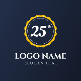 Yellow Circle and 25th Anniversary logo design