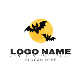 Yellow Circle and Black Bat logo design