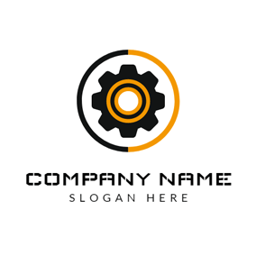 Yellow Circle and Black Gear logo design