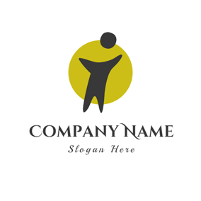 Yellow Circle and Black Kid logo design