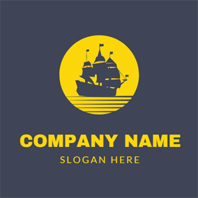 Yellow Circle and Black Sailboat logo design