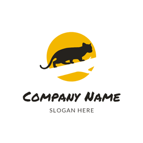 Yellow Circle and Black Wildcat logo design