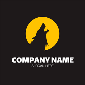 Yellow Circle and Black Wolf logo design
