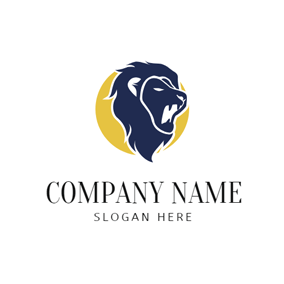 Yellow Circle and Blue Howling Leo Lion Head logo design