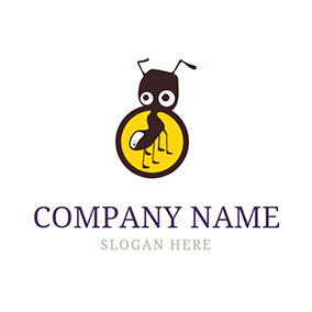 Yellow Circle and Brown Ant logo design