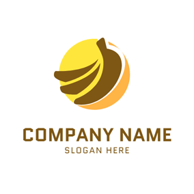 Yellow Circle and Brown Banana logo design