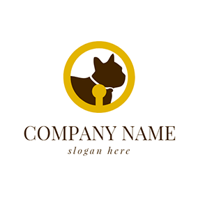 Yellow Circle and Chocolate Bulldog logo design