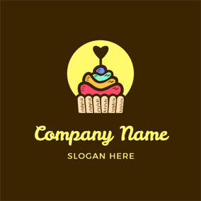 Yellow Circle and Colorful Cupcake logo design