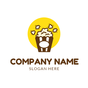 Yellow Circle and Delicious Popcorn logo design