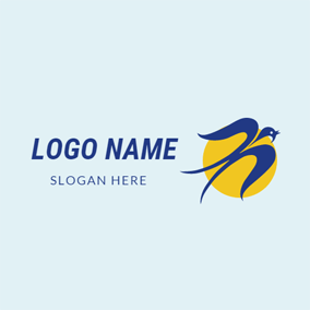 Yellow Circle and Exaggerated Bird logo design