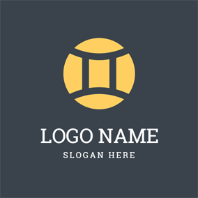 Yellow Circle and Gemini Symbol logo design