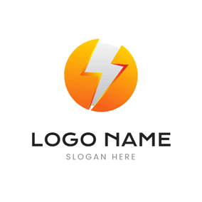 Yellow Circle and Lightning Power logo design