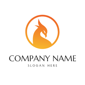 Yellow Circle and Phoenix Head logo design