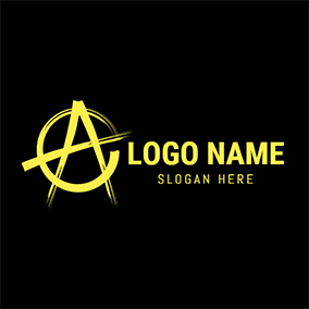 Yellow Circle and Punk Icon logo design