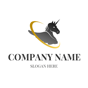 Yellow Circle and Unicorn Icon logo design
