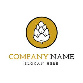 Yellow Circle and White Barley logo design