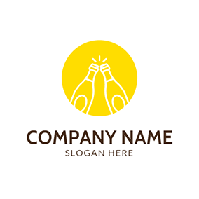 Yellow Circle and White Bottle logo design