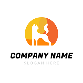 Yellow Circle and White Fox logo design