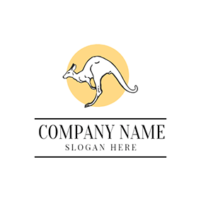 Yellow Circle and White Kangaroo logo design