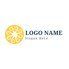 Yellow Circle and White Octopus logo design