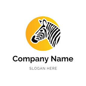 Yellow Circle and Zebra Head logo design
