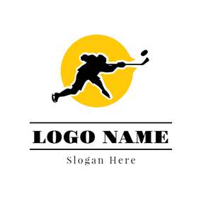 Yellow Circle Black Hockey Player logo design