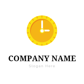 Yellow Clock and Coin logo design