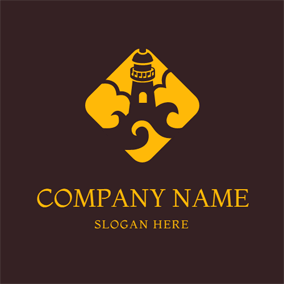 Yellow Cloud and Brown Lighthouse logo design
