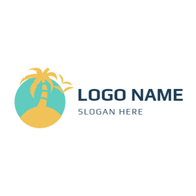 Yellow Coconut and Beach logo design