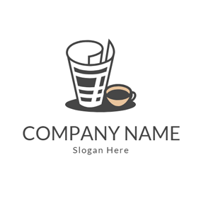 Yellow Coffee Cup and White Newspaper logo design