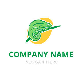 Yellow Color Lump and Green Lizard logo design