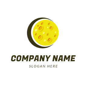 Yellow Crater Moon and Eclipse logo design