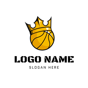 Yellow Crown and Basketball logo design