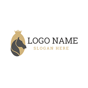 Yellow Crown and Black Horse logo design
